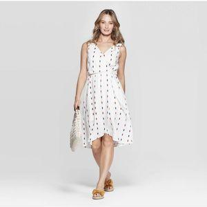 Universal Thread White Linen Blend Faux Wrap Dress